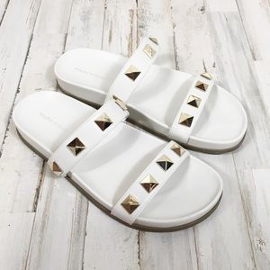 Marc Fisher White Studded Double Strap Sandals